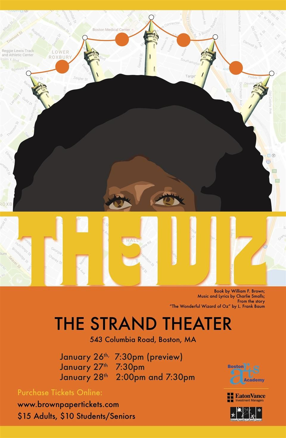 Flyer - Boston Arts Academy performs The Wiz at The Strand Theatre