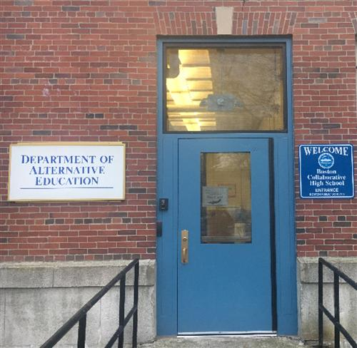 Photo of front door of Boston Collaborative High School