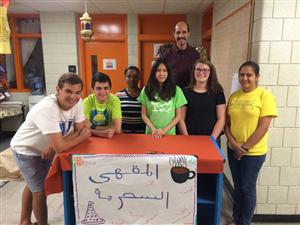 Students at the Arabic Summer Academy at Charlestown High School engaging in different activities to learn Arabic.