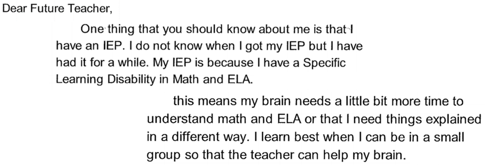 In a letter to his future teacher, a student explains how the teacher can best support him in his learning.
