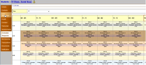 student information system sis family portal student schedules
