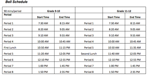 Bell Schedule 1 Column Page Layout