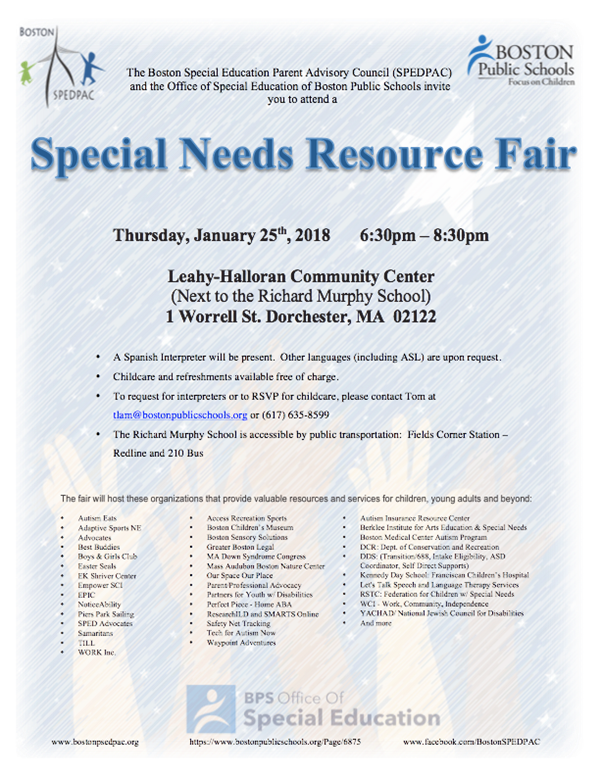Special Needs Resource Fair: Jan 25th 2018