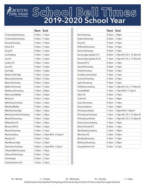 Boston Public Schools Calendar 2016 2020 Start Times / School by School Start Times