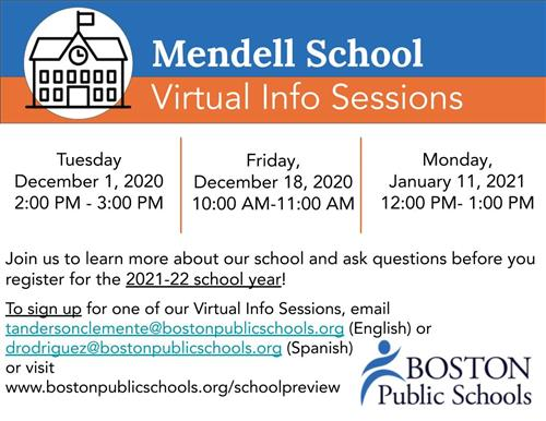 Mendell School Virtual Info Sessions