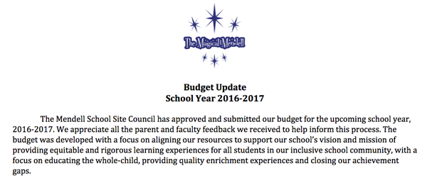 Mendell School Budget Update From the Principal for School Year 2016-2017
