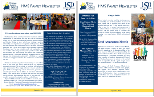 The September, 2019 Family Newsletter and Parent Calendar are ready to view