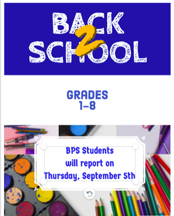 Grades 1-8 Return on Thursday, September 5th