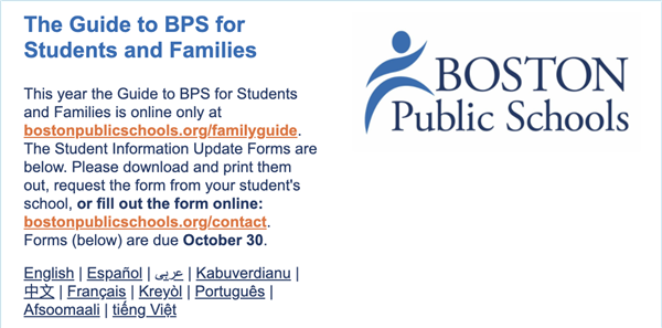 Guide to BPS Students and Family