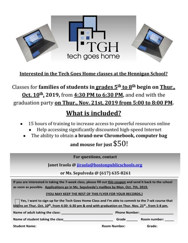 TGH Tech Goes Home 2019 Fall Schedule