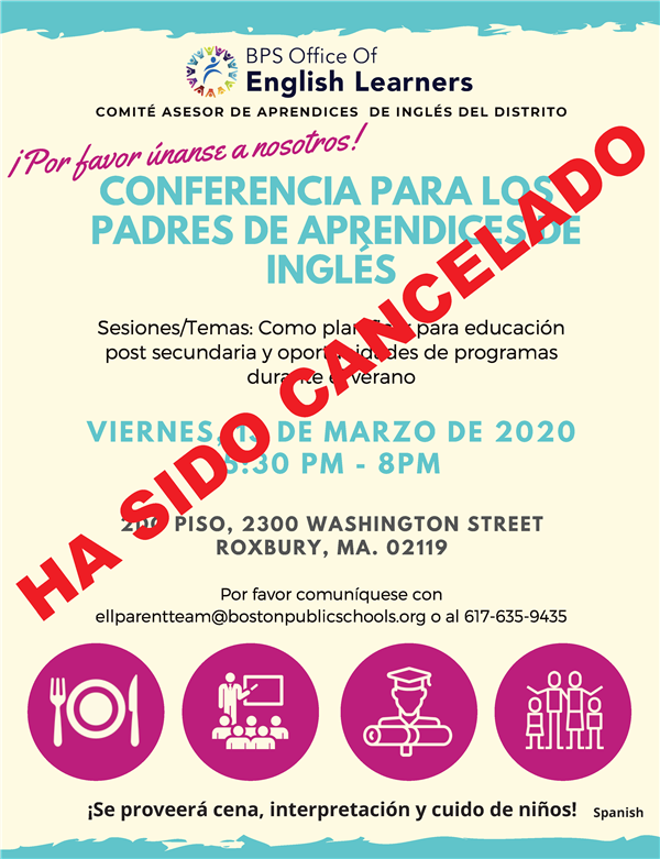 CANCELADO: Conferencia para los padres de aprendices de inglés / CANCELLED: English learner parent conference