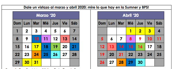 Dale un vistazo al marzo y abril 2020 / March and April 2020 At-a-Glance