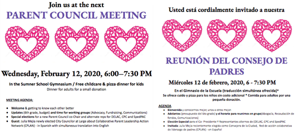 REUNIÓN DEL CONSEJO DE PADRES / PARENT COUNCIL MEETING