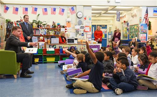 Mayor Walsh reads to students at the Condon School on 12/10/18.
