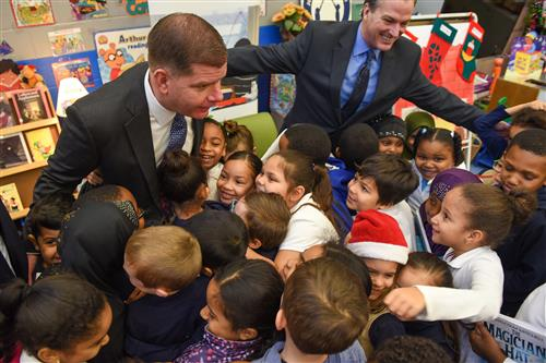 Mayor Walsh with Condon students