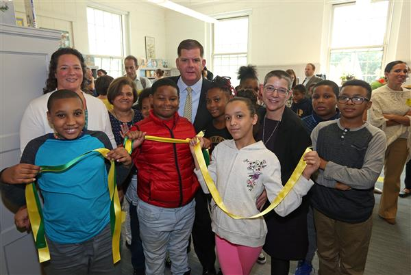 Curley K-8 School Community Celebrates Opening of School Library After Fundraising Effort