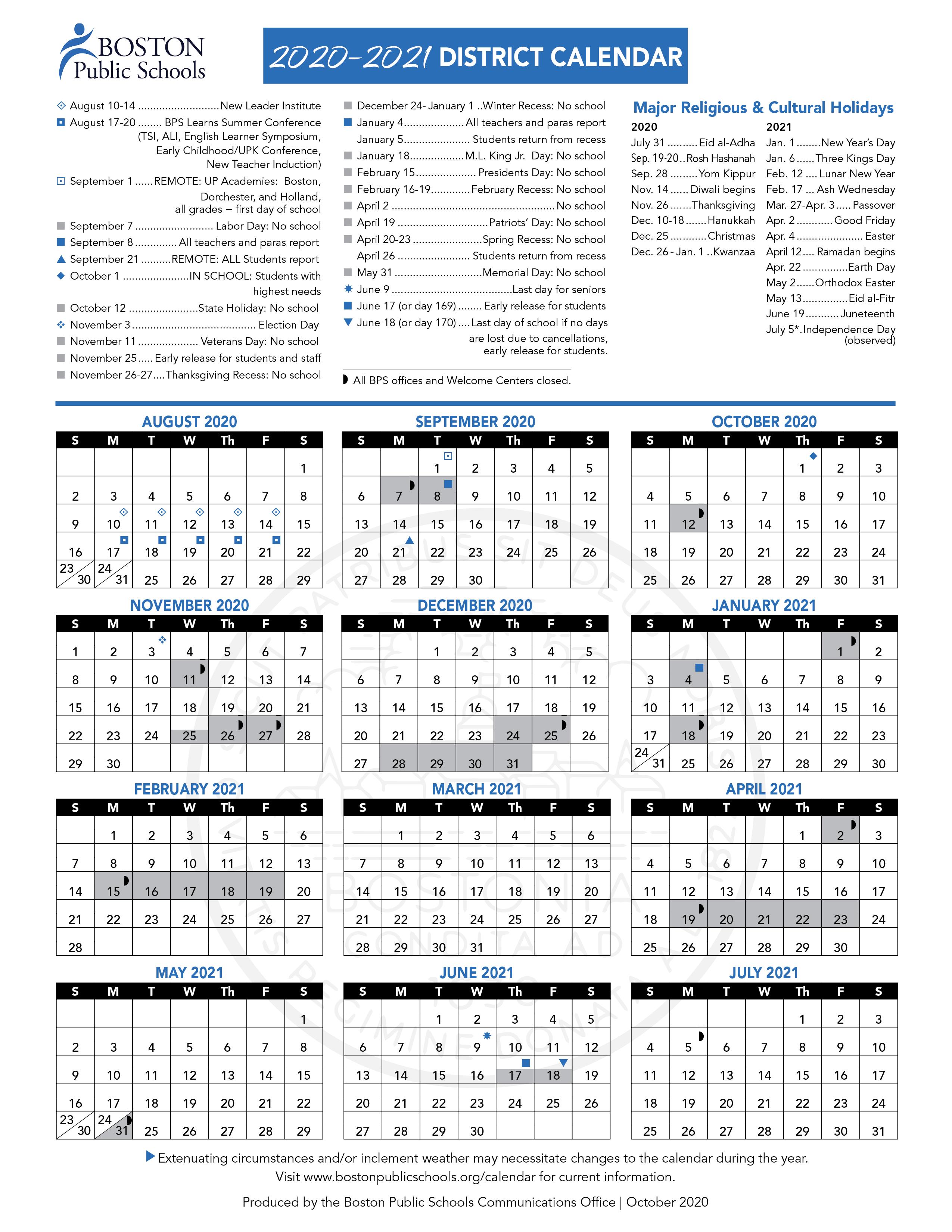 Brighton School Calendar 2021-2022 Wallpaper