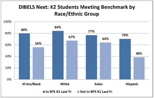 DIBELS K2 by race/ethnicity