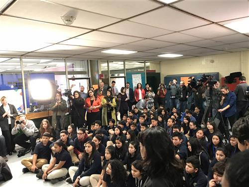 Umana students at BoSTEM grant announcement