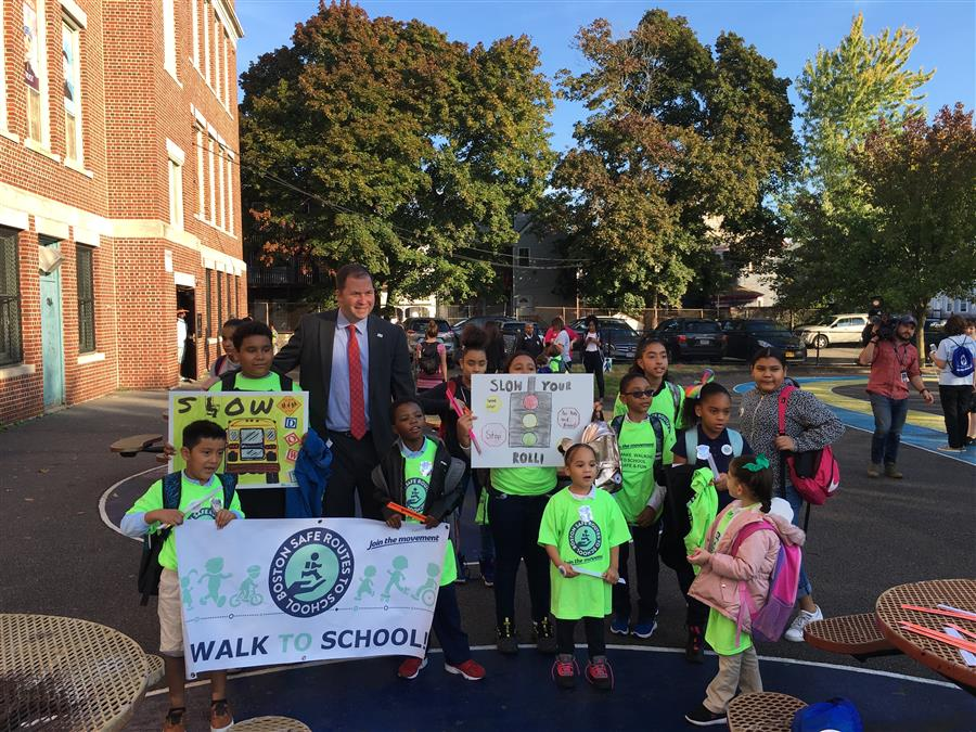 BPS Staff, City Leaders and Wally the Green Monster Join Thousands of Students in Walk to School Day