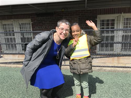 Interim Superintendent Laura Perille with an ABCD student on 4/2/19.