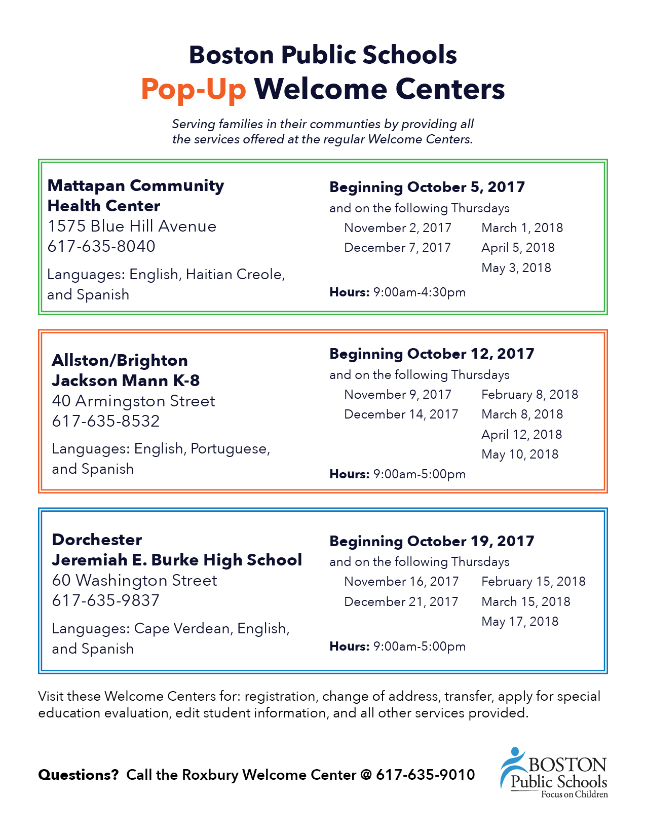 BPS Welcome Services / Welcome Center Locations