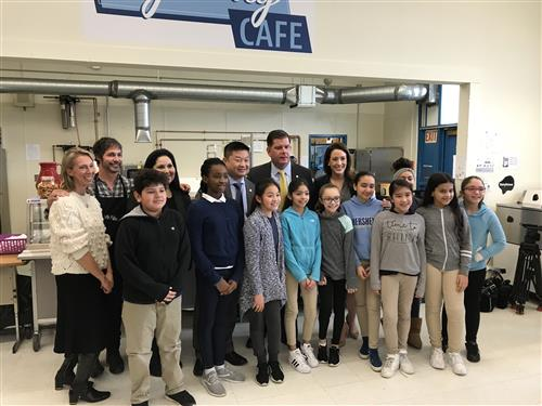 Students and BPS officials pose for a photo launching My Way Cafe on 4/2/18.