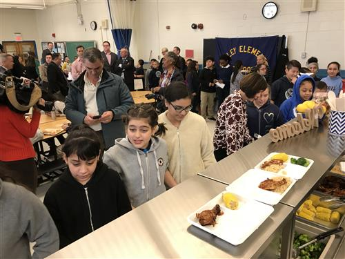 Bradley School students receiving lunch on 4/2/18
