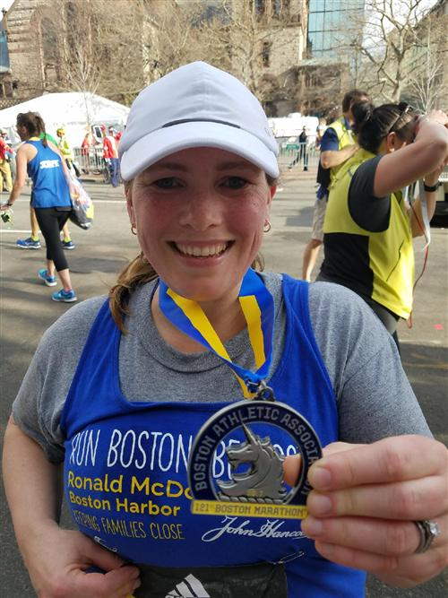 Debbie O'Shea with her medal after crossing the finish line of the 2017 Boston Marathon