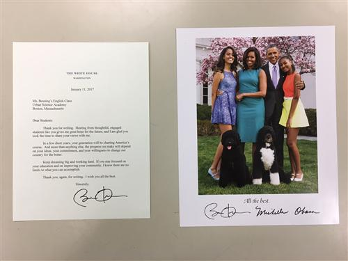 A Letter from President Obama to Urban Science Acdemy's Students