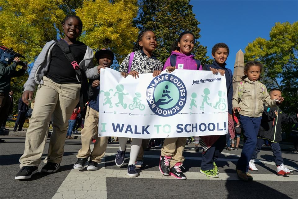 Photo: Mather School students participate in Walk to School Day