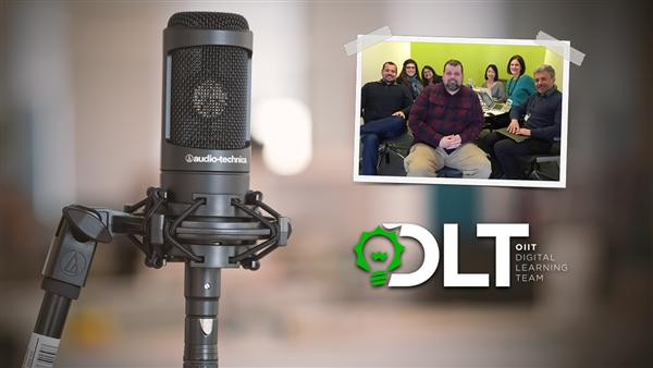 DLT Talks Podcast with microphone